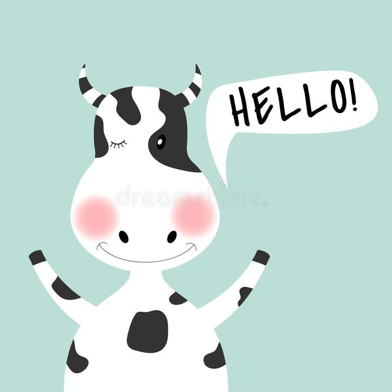 Fille et inscription mignonnes de vache à bande dessinée bonjour illustration libre de droits