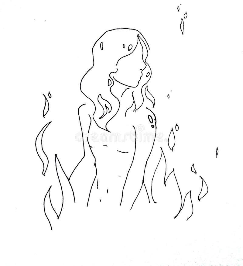 Fille et les éléments Incendie Eau illustration de vecteur