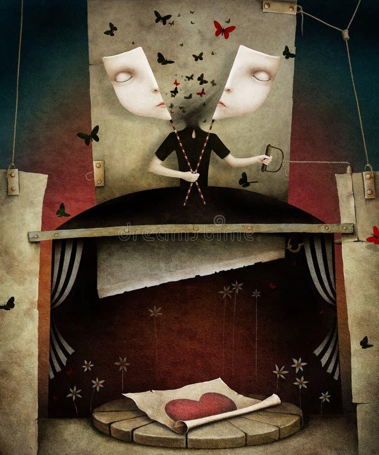 Fille et masque conceptuels d'illustration illustration de vecteur