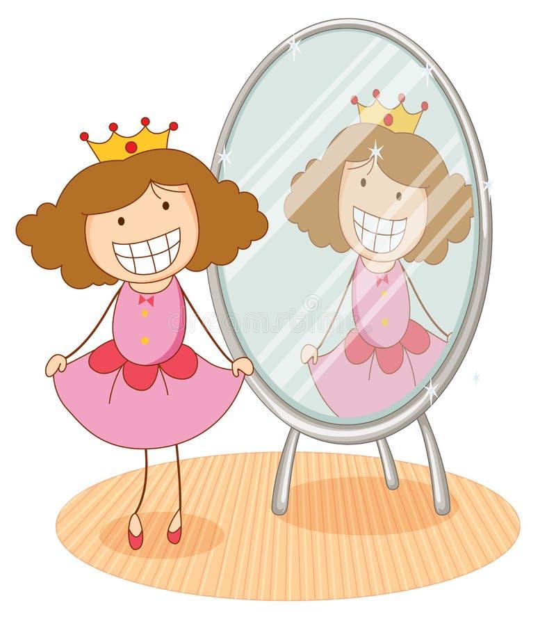 Fille et miroir illustration stock