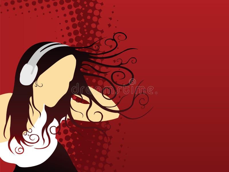 Fille et musique illustration libre de droits