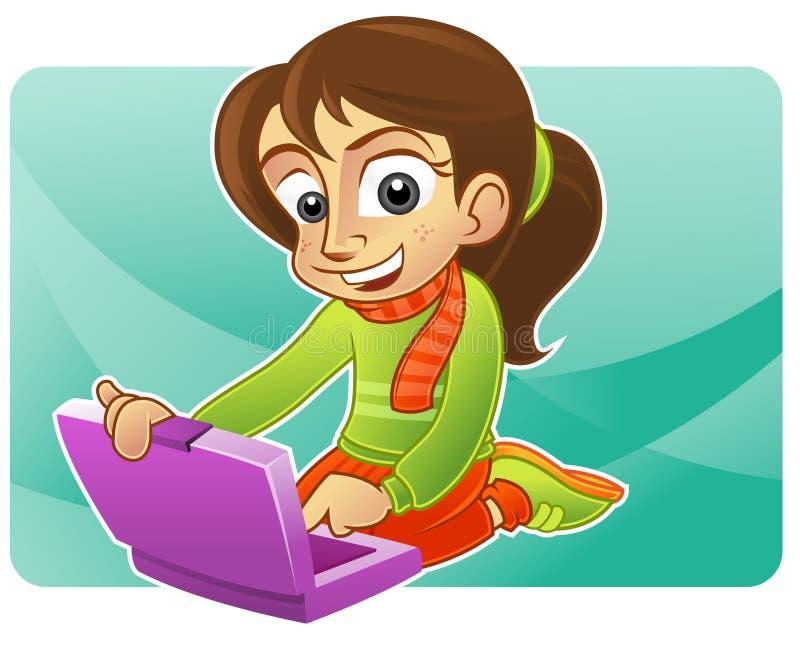 Fille et ordinateur portatif heureux illustration stock