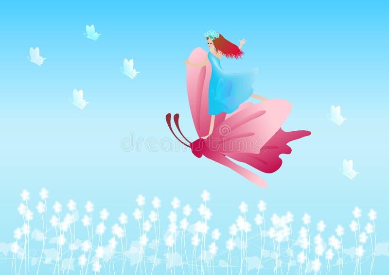 Fille et papillon illustration stock