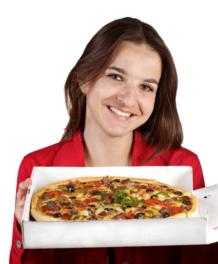 fille et pizza images stock