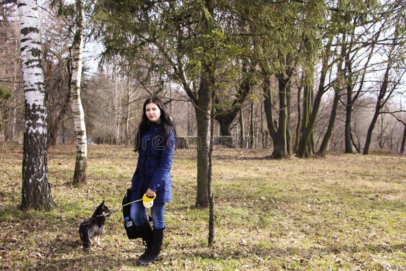 Fille et son chien en parc image stock