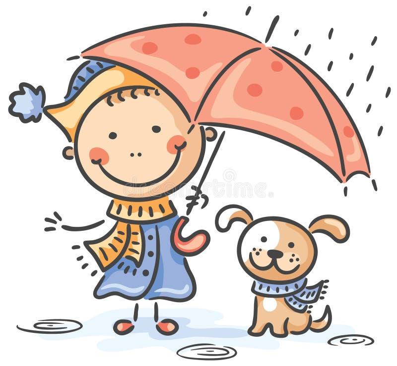 Fille et son chiot sous le parapluie illustration stock