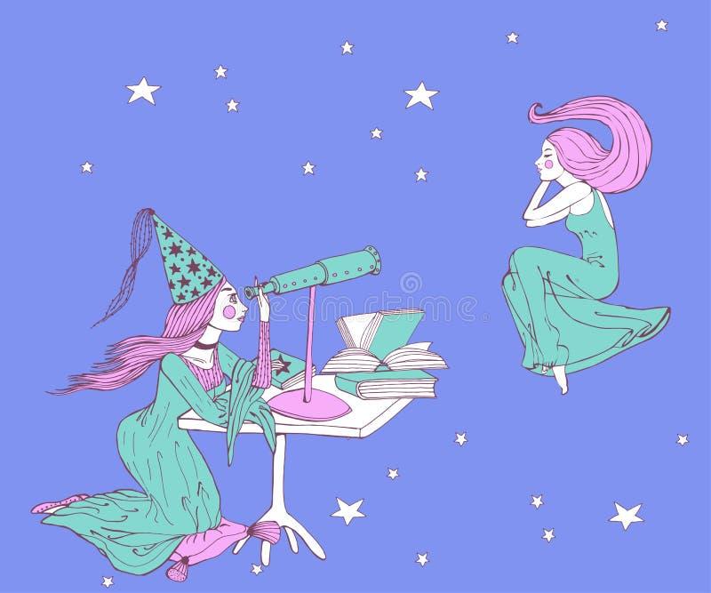 Fille et télescope tirés par la main d'astrologue d'astronome illustration de vecteur
