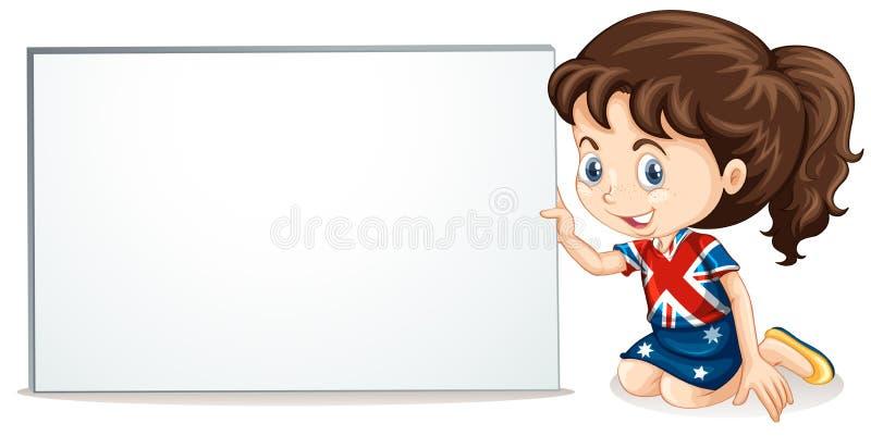 Fille et tableau blanc britanniques illustration de vecteur