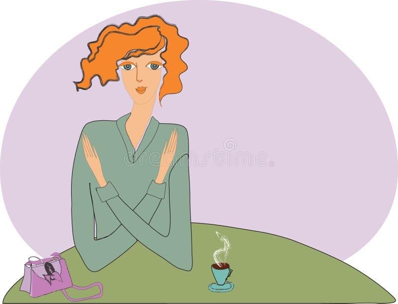Fille et tasse de café. illustration libre de droits