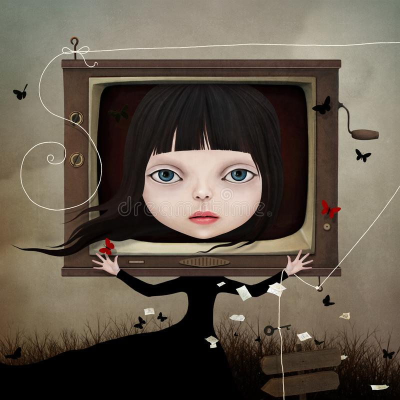 Fille et TV illustration de vecteur