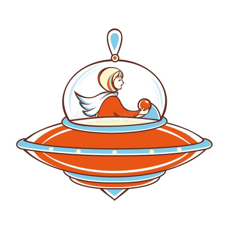 Fille et vaisseau spatial illustration libre de droits