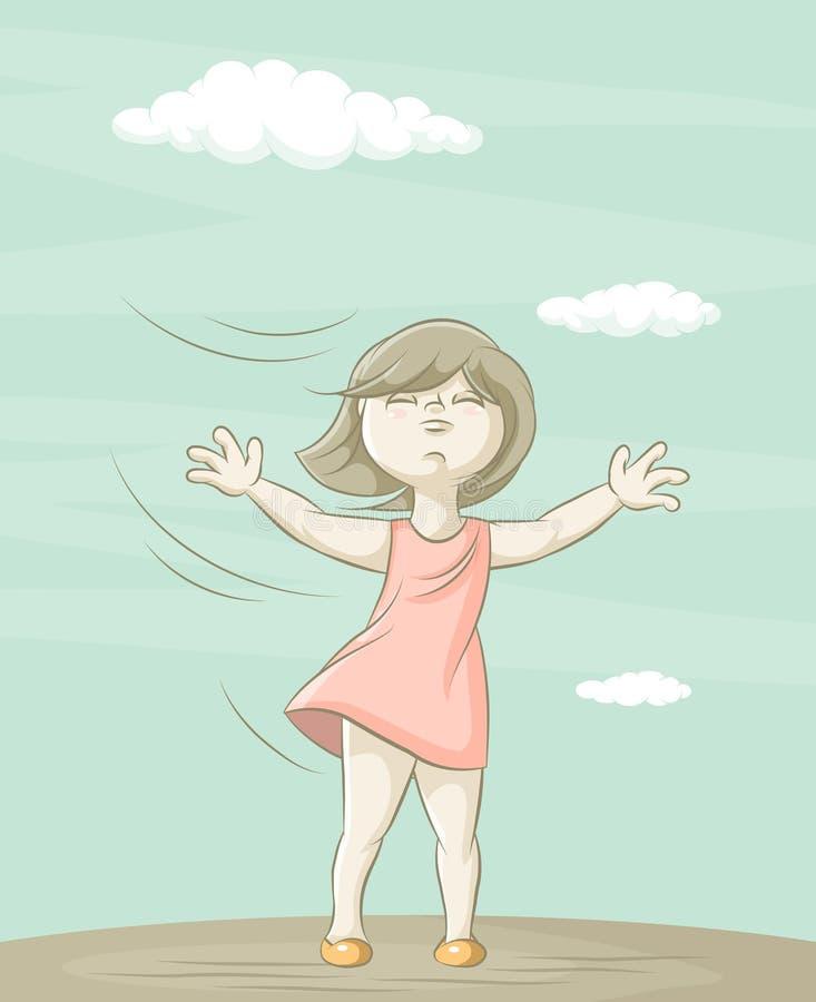 Fille et vent illustration libre de droits
