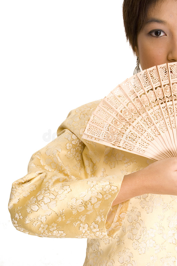 Fille et ventilateur asiatiques 4 photographie stock