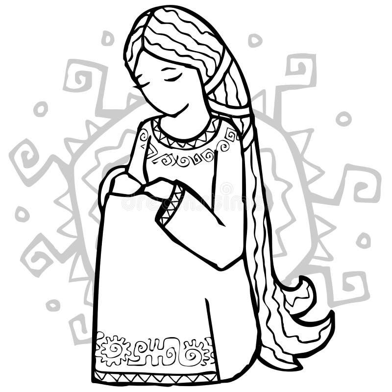 Fille ethnique triste de type avec le soleil à elle en arrière illustration de vecteur