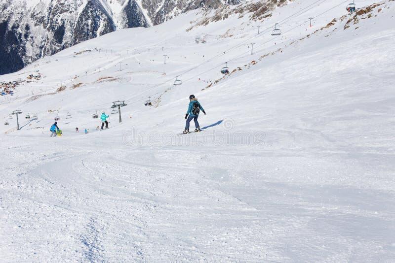 Fille extrême Station de sports d'hiver de sport photographie stock
