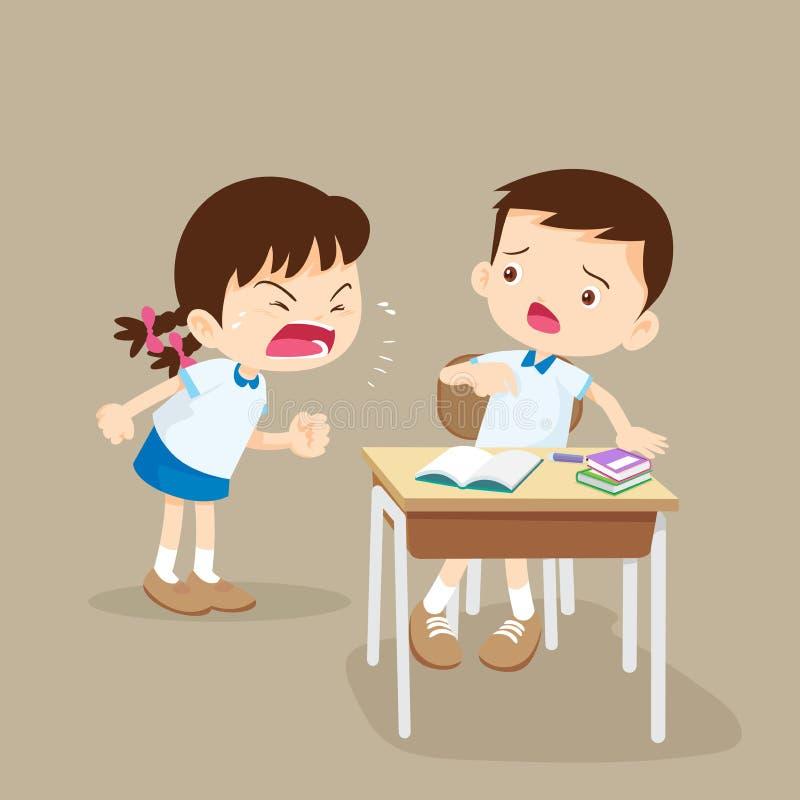 Fille fâchée criant à l'ami illustration stock