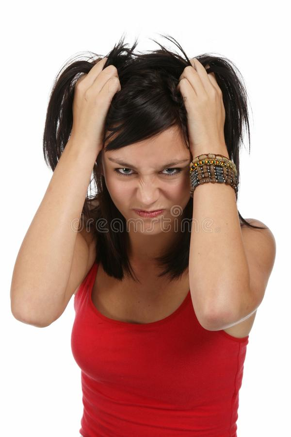 Fille fâchée et frustrante images stock
