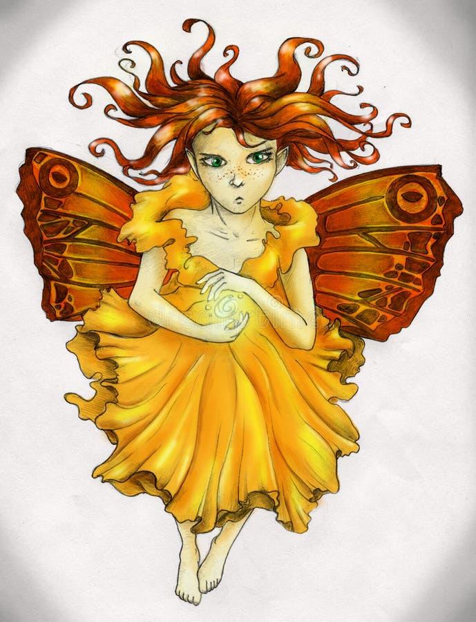 Fille féerique d'une chevelure rouge jetant le sort magique illustration stock
