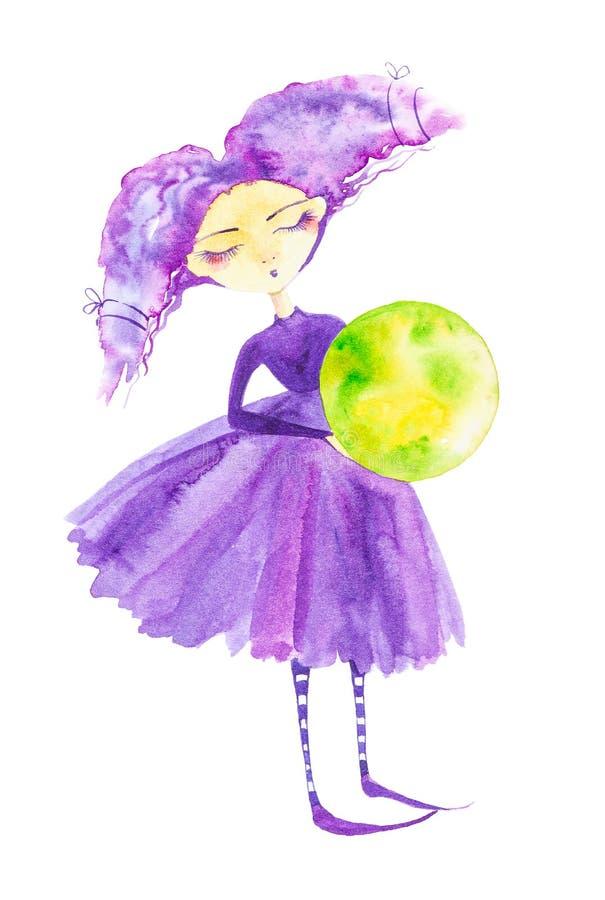 Fille féerique dans une robe pourpre et des bas rayés, avec les cheveux pourpres se développant dans le vent Tenir le globe, la p illustration de vecteur