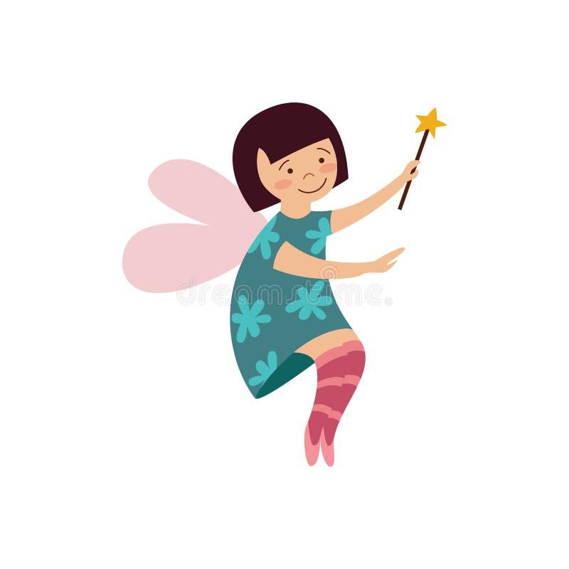 Fille féerique mignonne avec la baguette magique magique que l'illustration plate de vecteur de bande dessinée a isolée illustration libre de droits