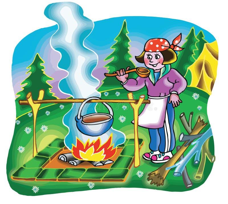 Fille faisant cuire sur le feu de camp illustration libre de droits