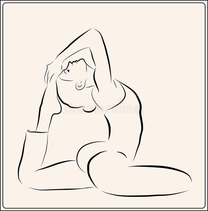 fille faisant l'exercice de yoga illustration libre de droits