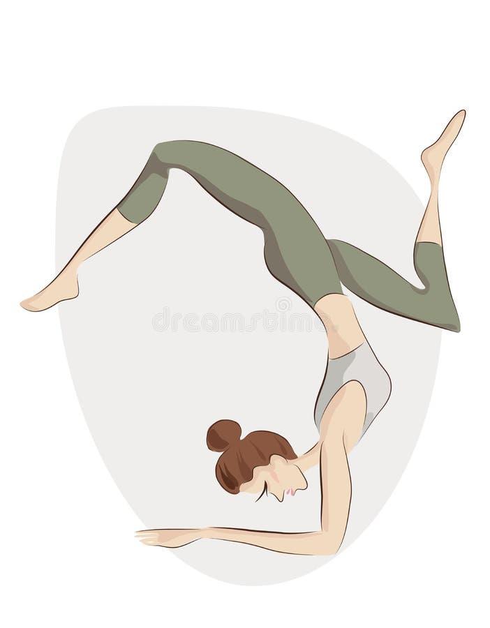 Fille faisant l'exercice de yoga Illustration de vecteur d'une femme dans la pose de yoga illustration stock