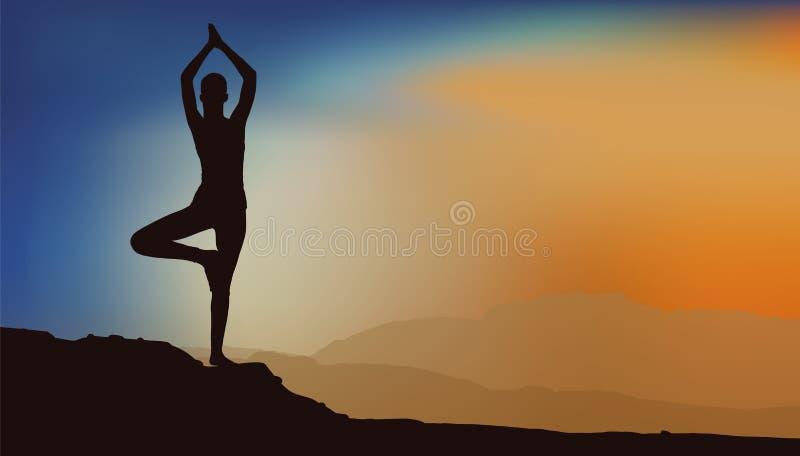 Fille faisant le yoga illustration libre de droits