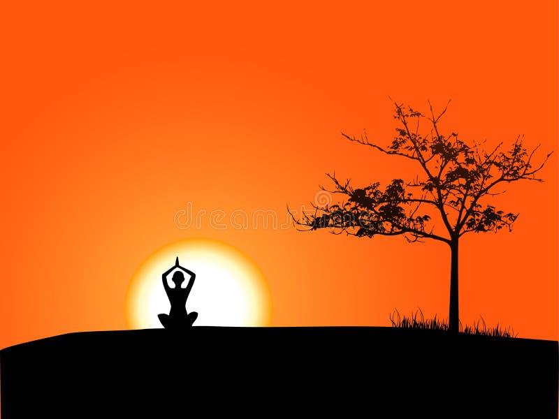 Fille faisant le yoga dans le coucher du soleil illustration stock