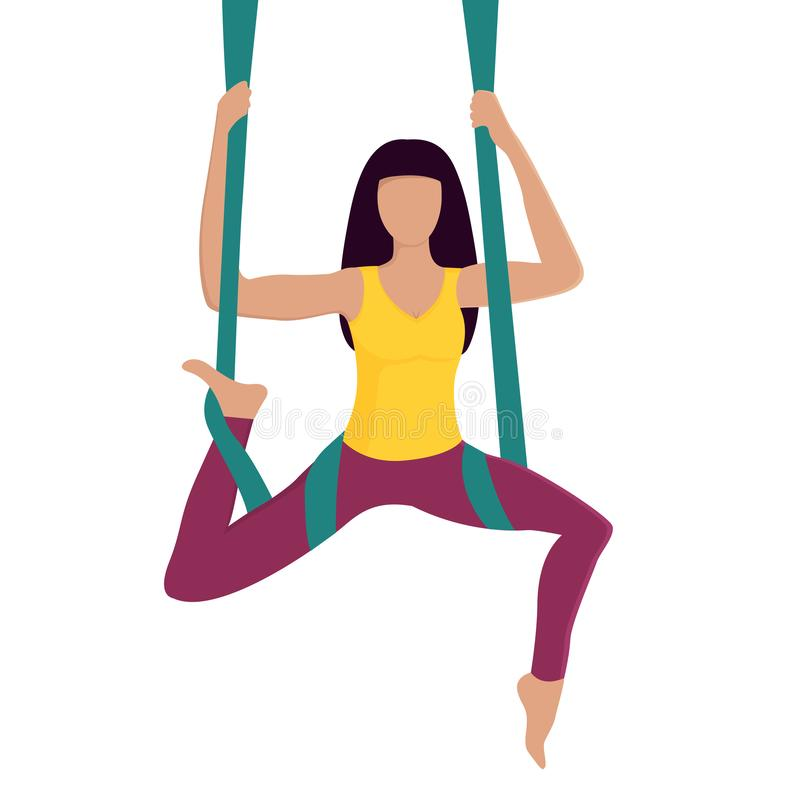 Fille faisant le yoga de mouche avec l'hamac aérien Style de vie sain workout illustration libre de droits