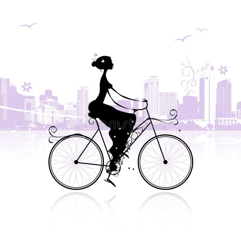 Fille faisant un cycle dans la ville illustration libre de droits