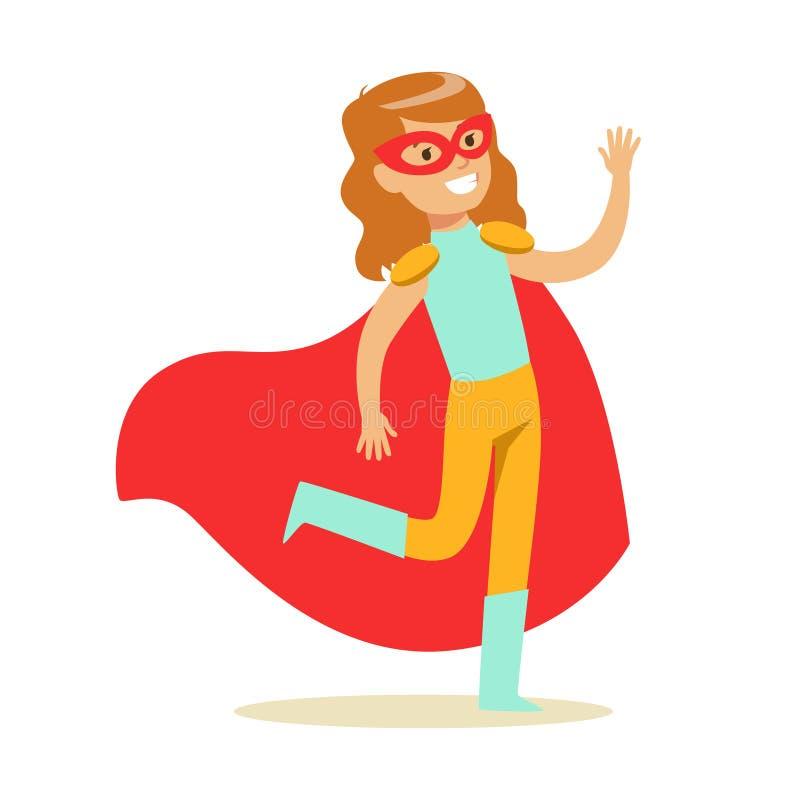 Fille feignant pour avoir des super pouvoirs habillés dans le costume bleu et jaune de super héros avec le cap rouge et pour masq illustration libre de droits