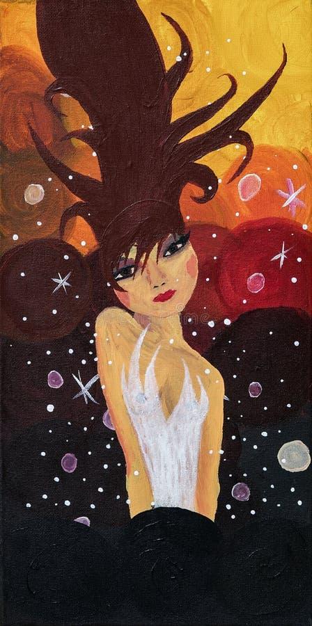 Fille, femme dans la robe avec le vol de cheveux, flotteurs dans les bulles et scintillements illustration stock