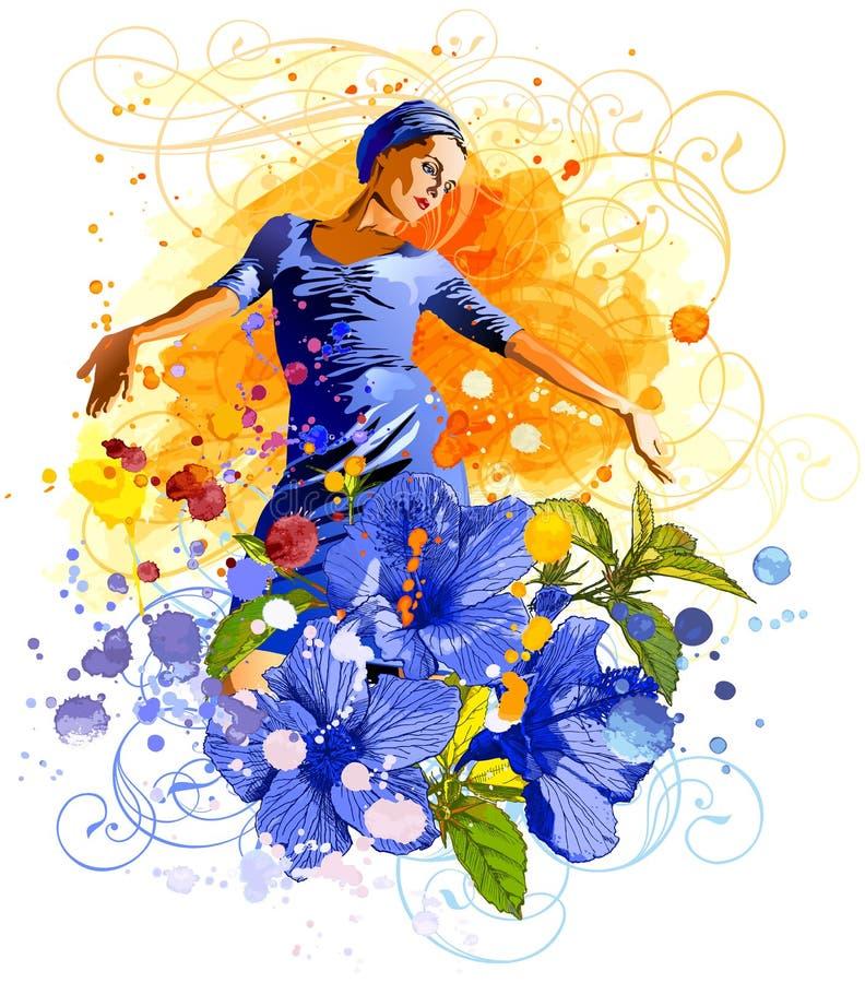 fille, fleurs et aquarelles illustration stock
