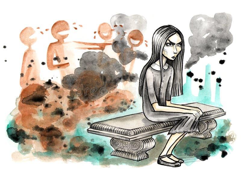 Fille foncée s'asseyant sur le banc en pierre illustration libre de droits
