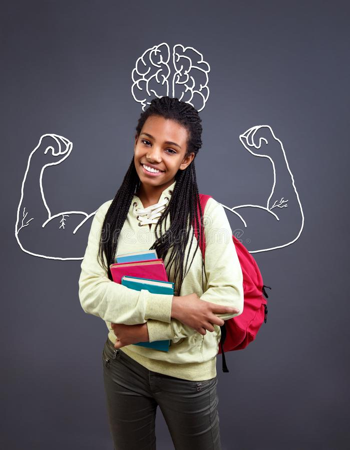 Fille forte dans la classe - la connaissance est puissance image libre de droits