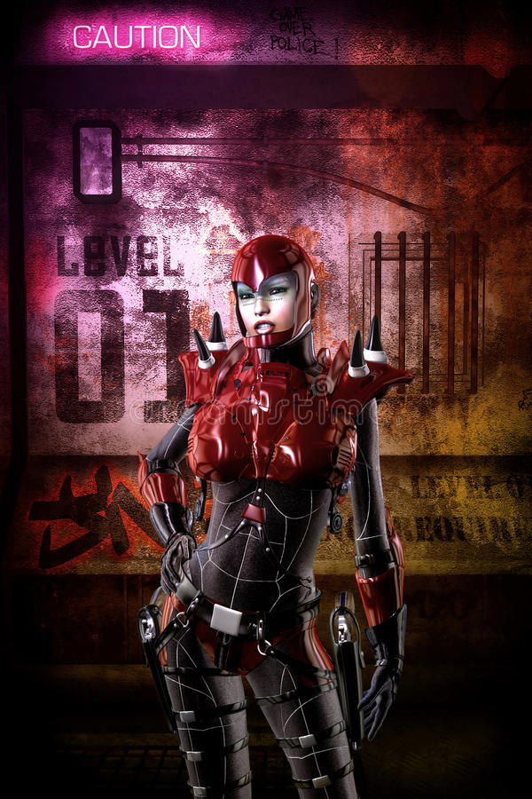 Fille futuriste de soldat de Cyberpunk illustration libre de droits