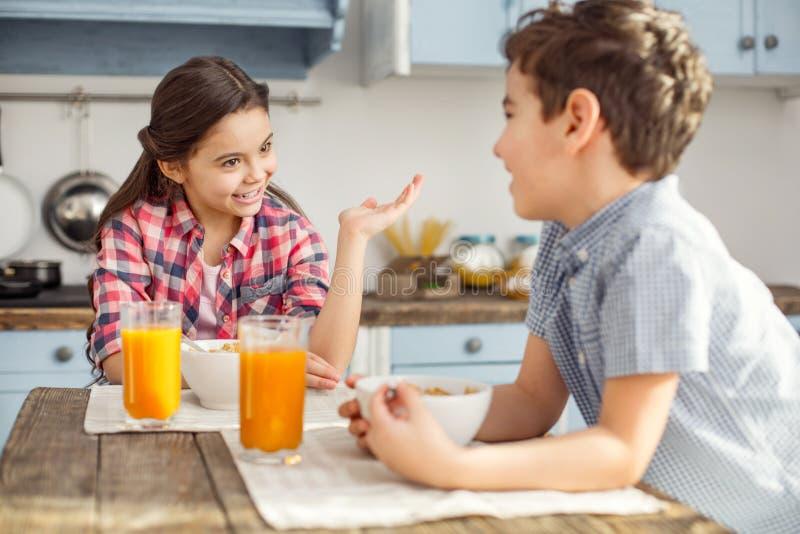 Fille gaie parlant avec son frère au petit déjeuner photographie stock libre de droits