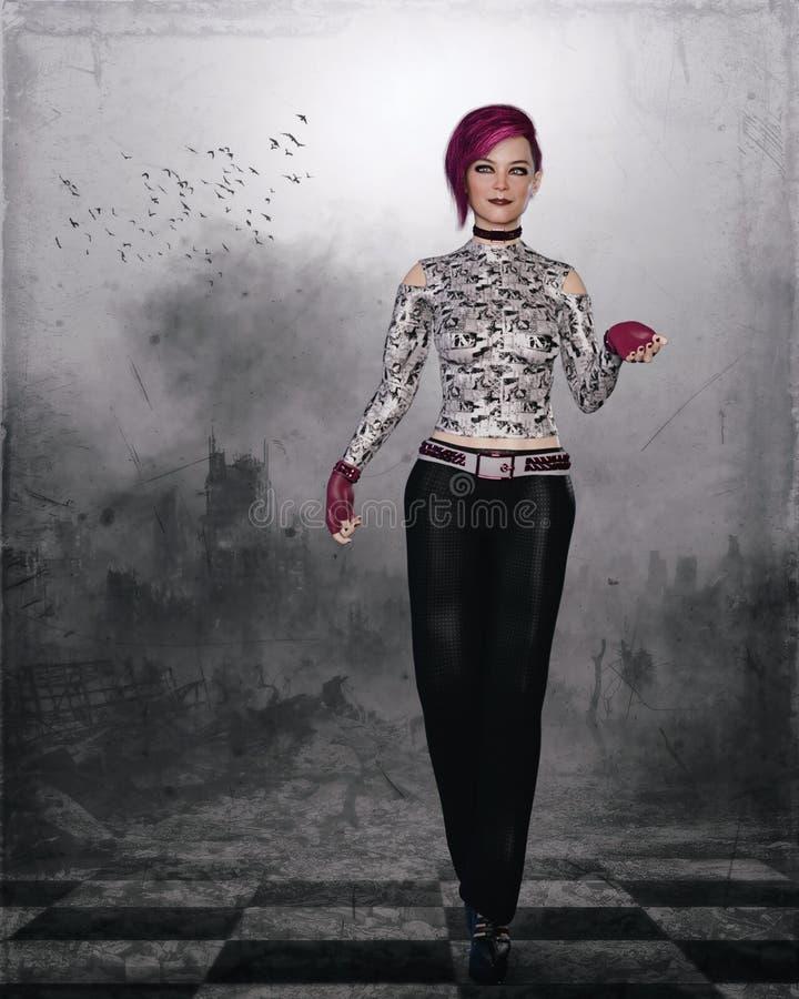 Fille gothique avec les cheveux roses illustration de vecteur