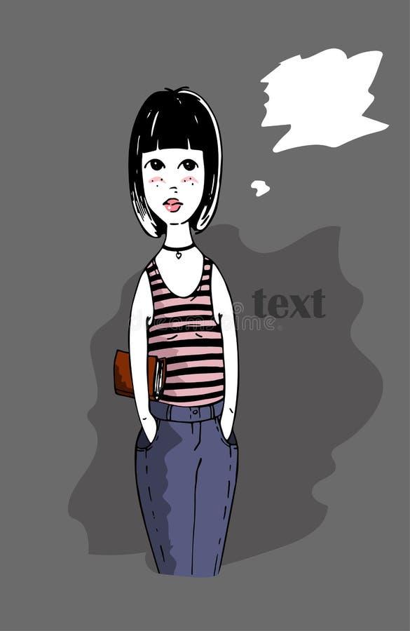 Fille graphique mignonne jeans et supports de T-shirt avec le livre et en pensant à quelque chose illustration de vecteur