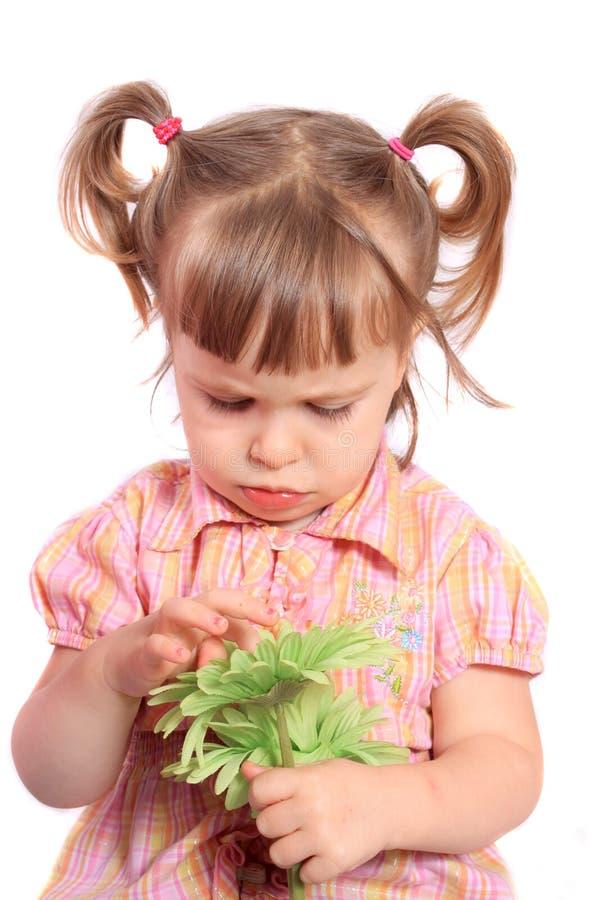 Fille grincheuse avec la fleur photographie stock
