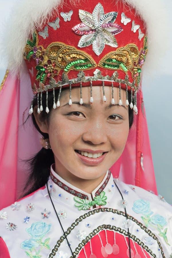 Fille habillée traditionnelle de minorité de Zhuang, Longji, Chine image libre de droits