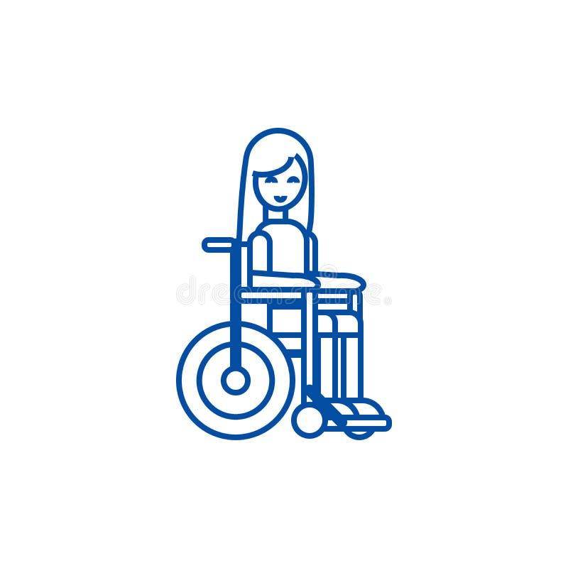 Fille handicapée dans la ligne concept de fauteuil roulant d'icône Fille handicapée dans le symbole plat de vecteur de fauteuil r illustration libre de droits
