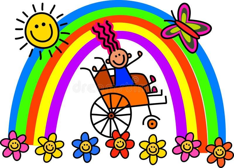 Fille handicapée de fauteuil roulant illustration de vecteur