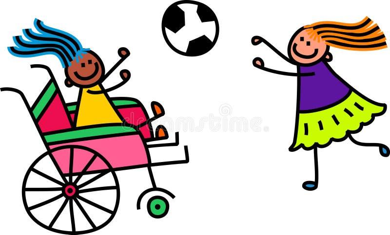 Fille handicapée du football illustration stock