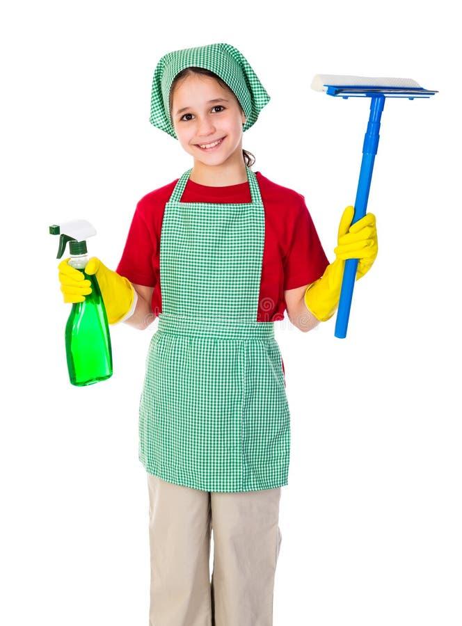 Fille heureuse avec l'équipement de nettoyage image libre de droits