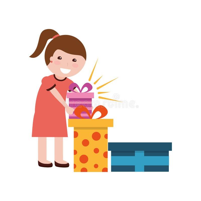Fille heureuse avec l'anniversaire de beaucoup de boîte-cadeau illustration libre de droits