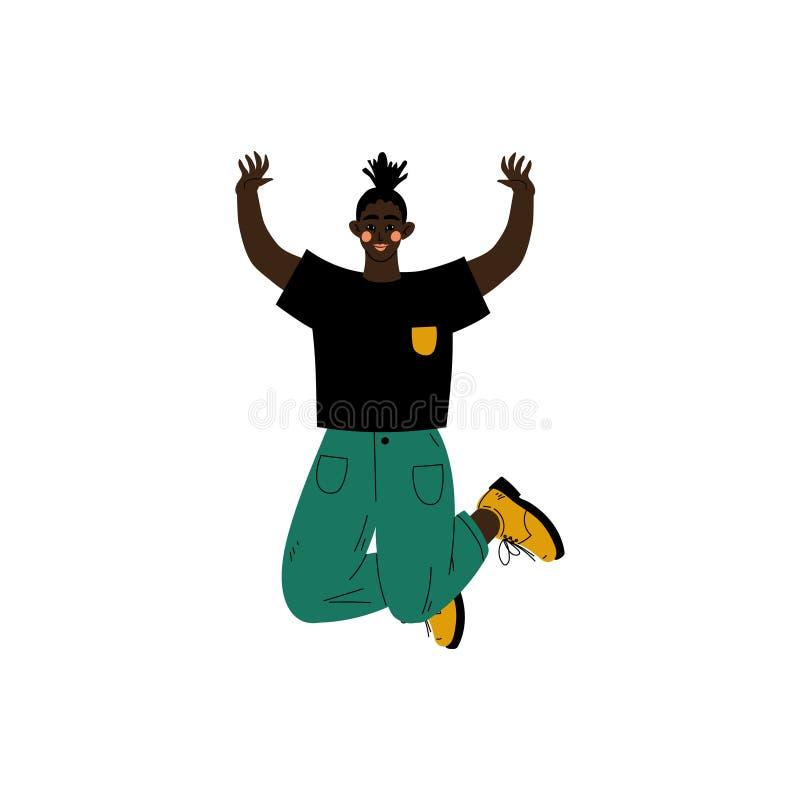 Fille heureuse d'Afro-américain sautant célébrant l'événement important, soirée dansante, amitié, vecteur de concept de sport illustration libre de droits