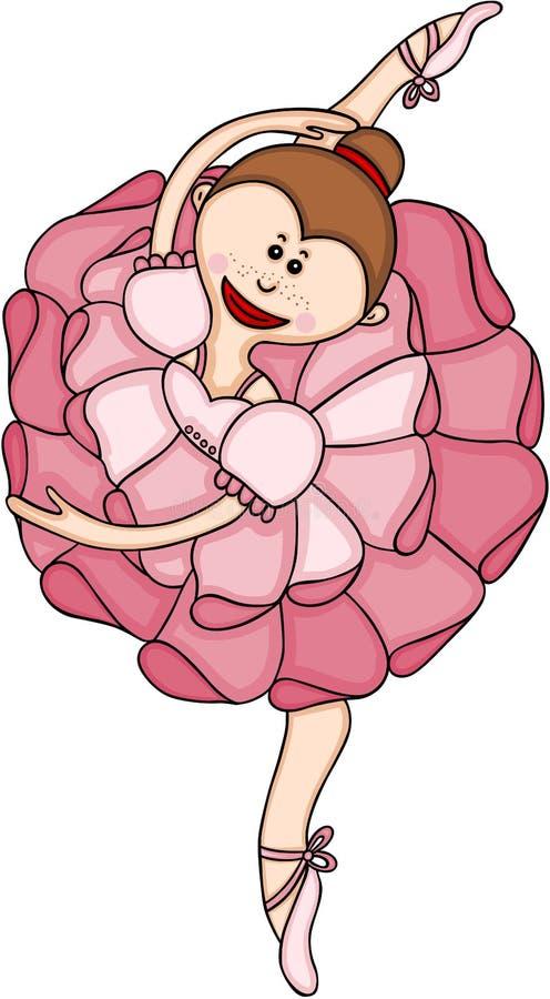 Fille heureuse de ballerine dans un tutu rose illustration libre de droits