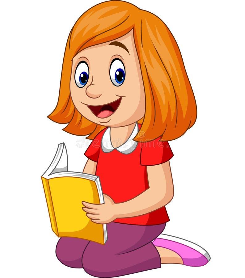Fille heureuse de bande dessinée lisant un livre illustration de vecteur